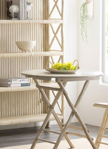 Warm Design Bambu Saplı Tabak Beyaz